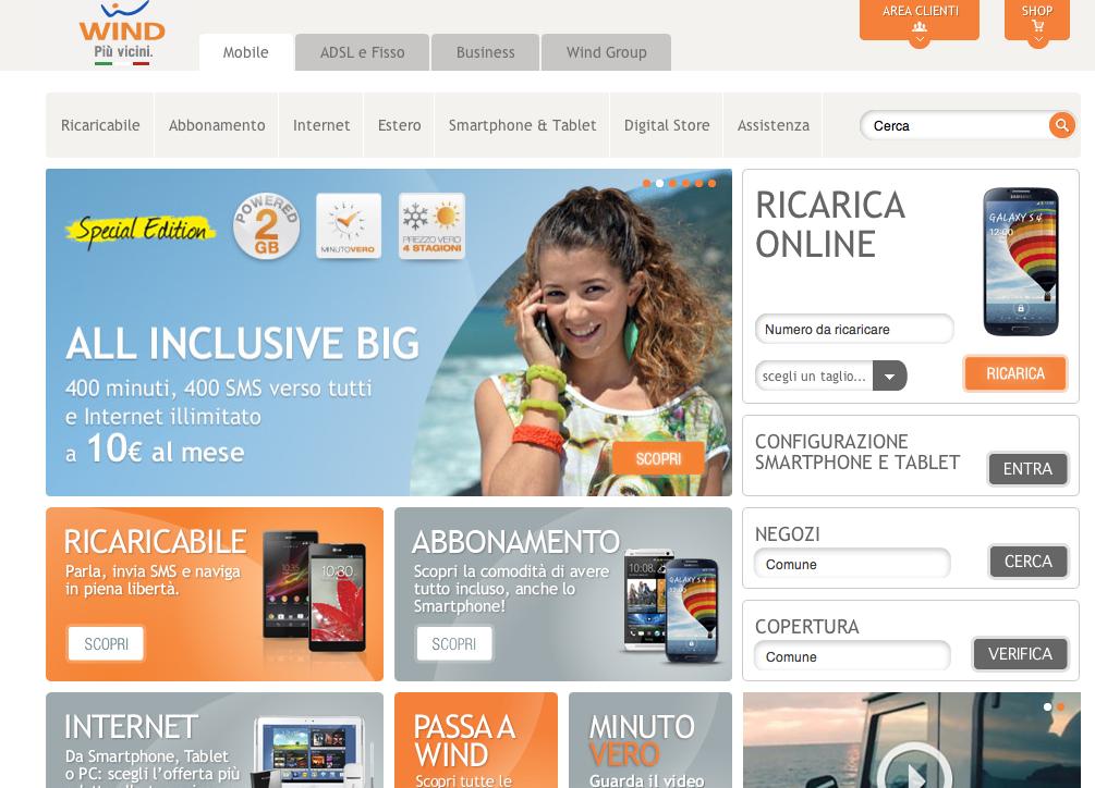 Wind: aperto il nuovo portale Wind Digital Store